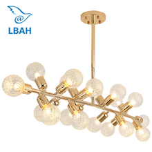 купить Modern hanging lamp light LED dinning room bedroom foyer round glass ball  gold Nordic simple G4 pendant light lamp дешево