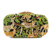 Zoo Crystal Purse Evening Bags Women Monkey Lion Elephant Shape Clutches Party Ladies Clutch Bag 8680A