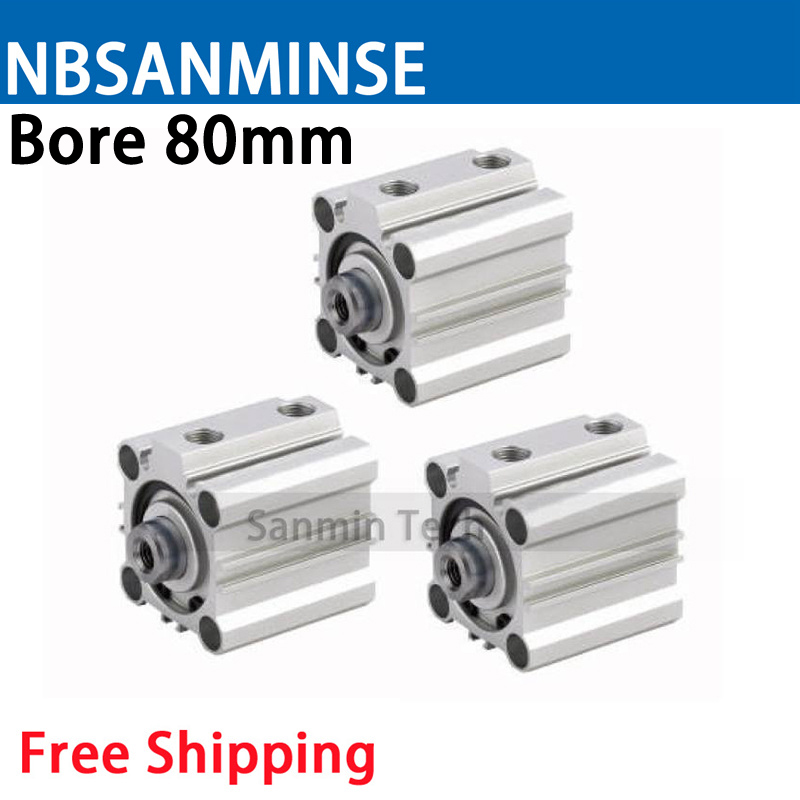CQ2B 80mm Bore Size Compact Cylinde SMC Type Double Acting Single Rod Pneumatic ISO Compact Cylinder High Quality Sanmin single rod double acting pneumatic cylinder cdj2b16 80