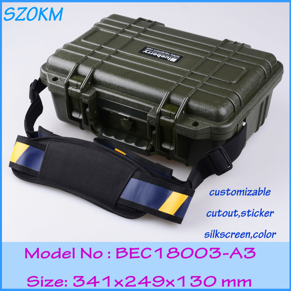 цены  plastic tool box waterproof tool case IP68 security seal pistol case instrument case 341*249*130mm