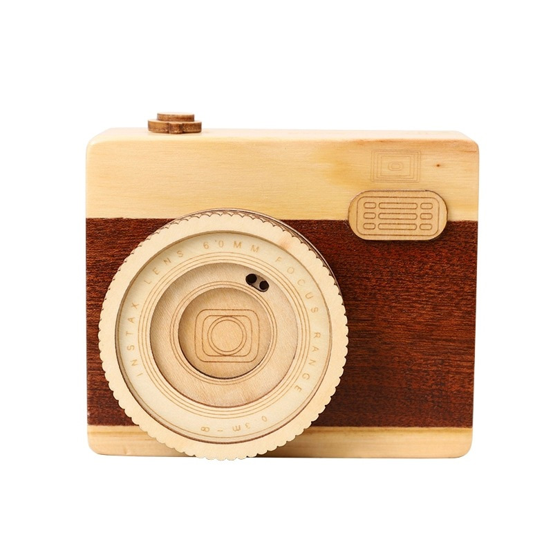 High Wooden Music Box Hand Crank Music Box Boutique Home Decor Gifts Crafts Birthday Gifts For Girls Camera Music Box Mechanism