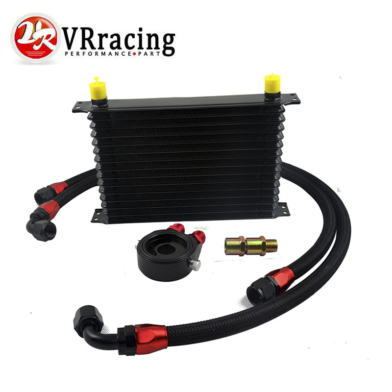 VR RACING-UNIVERSAL 15 ROWS TRUST TYPE OIL COOLER+OIL FILTER SANDWICH ADAPTER + SS NYLON STAINLESS STEEL BRAIDED AN10 HOSE