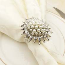 24PCS alloy pearl sunflower napkin ring wedding supplies home accessories