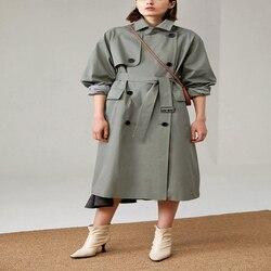 Британский бренд, новая мода, осень 2020, повседневный двубортный простой классический длинный плащ с поясом, шикарная Женская ветровка
