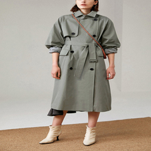 UK Brand new Fashion 2020 Fall Autumn Casual Double breasted Simple Classic Long Trench coat with belt Chic Female windbreaker cheap KALEIRDA Full WOMEN Broadcloth COTTON Adjustable Waist Pockets Button Solid F1628T Turn-down Collar Slim S M L Green Khaki