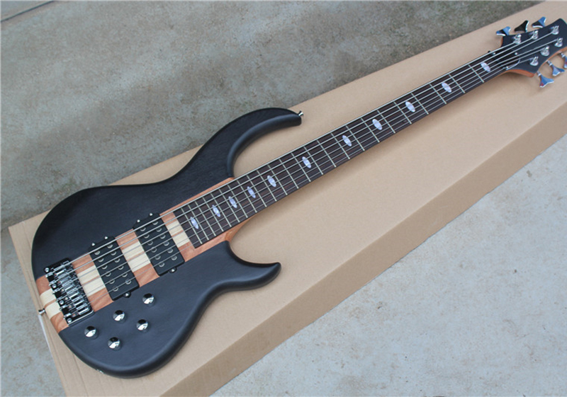 matte black 6 strings electric bass guitar with 2h pickups 24 frets neck thru body chrome. Black Bedroom Furniture Sets. Home Design Ideas