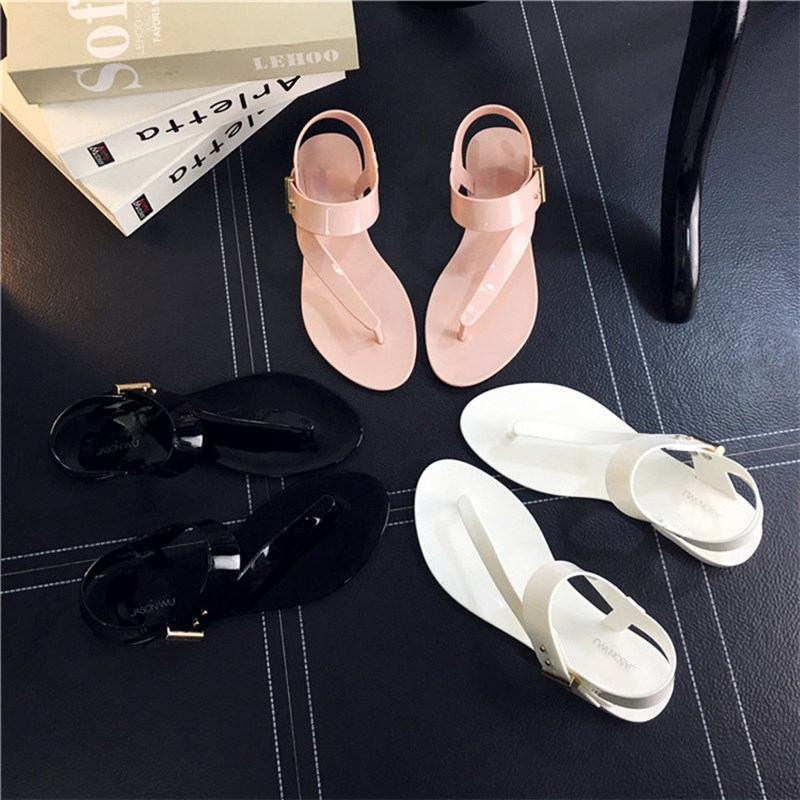 NIS Women Jelly Shoes Sandals Black/Pink Gladiator Beach Sandal 2017 Summer Ankle Strap Flip Flops Ladies Femme Solid Flats