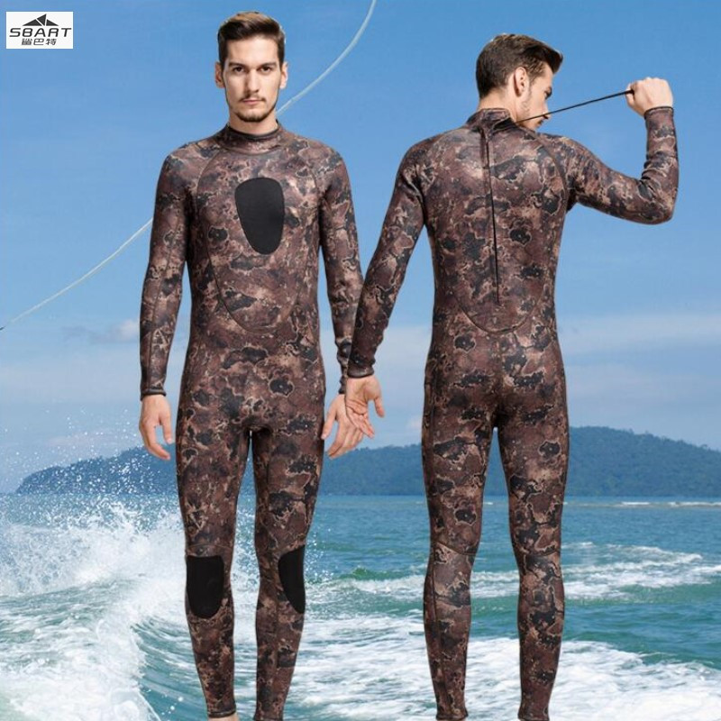 Sbart1018 3MM men's wetsuit warm sunscreen anti UV, anti scratch winter long sleeved one-piece thickened surf clothing jellyfish sbart upf50 806 xuancai