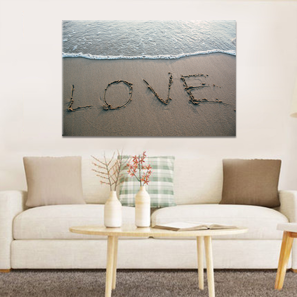 Unframed Canvas Painting Beach Waves Love Text Print Painting Posters Wall Picture For Living Room Home Decor Dropshipping