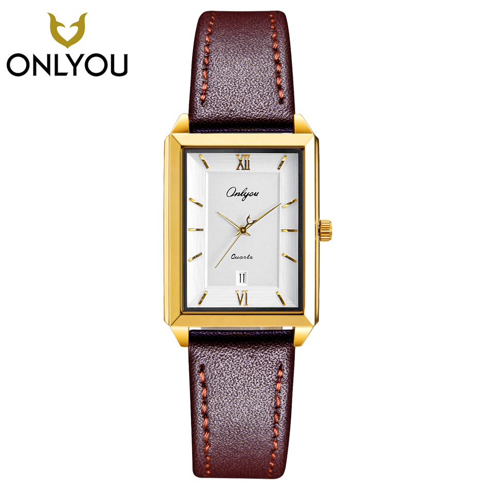 ONLYOU Fashion Women Watches Square Gold Leather Quartz Watch Ladies Elegant Wristwatch Luxury Lover Gift Clock Men Business onlyou fashion lover watch men women in lover s watches round couple business quartz wristwatch rosegold clock date display