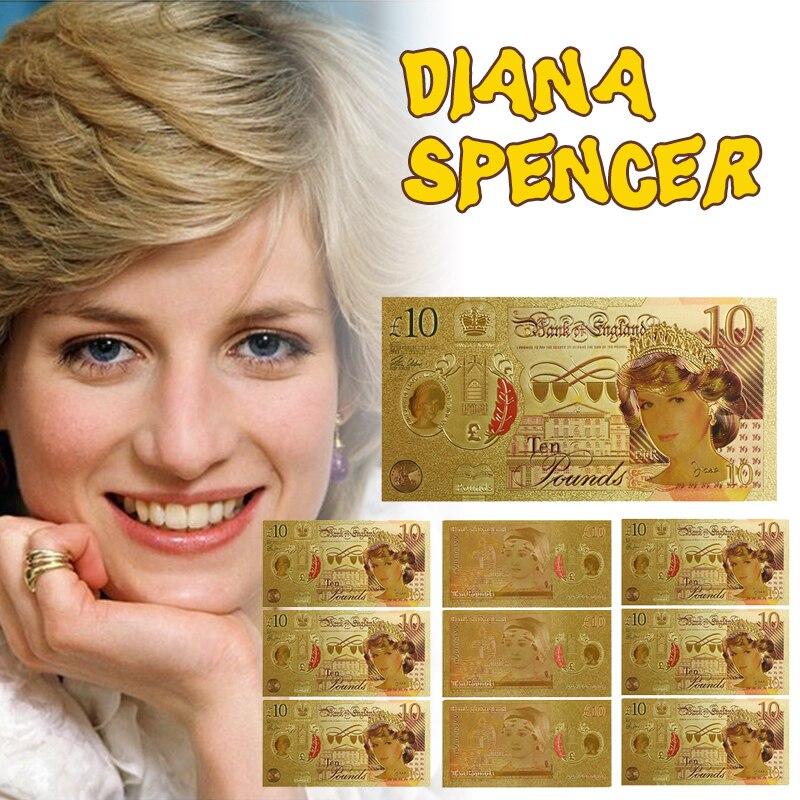 WR Reino Unido Princesa Diana billete de oro de 24k coleccionable la última rosa de Inglaterra hoja de oro nota dinero