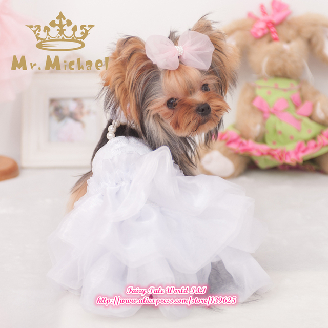 Small Dog Clothes Wedding Dress Pet Cothing For Dogs And Cats Puppy Princess Skirt Pink