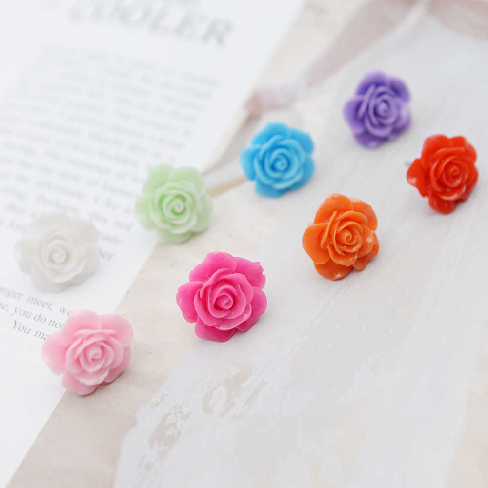 Mixed Pack Set Multi-Color Rose Flower Stud Earring for Women Gold/Silver Pentagram Korean Fashion Jewelry Pour Les Femmes Bijou