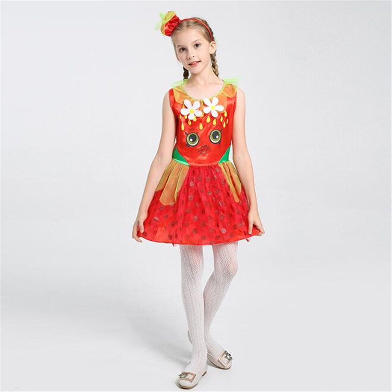 Cute Girls Strawberry Princess Costume Halloween Kids Children Fruit Cosplay Clothing