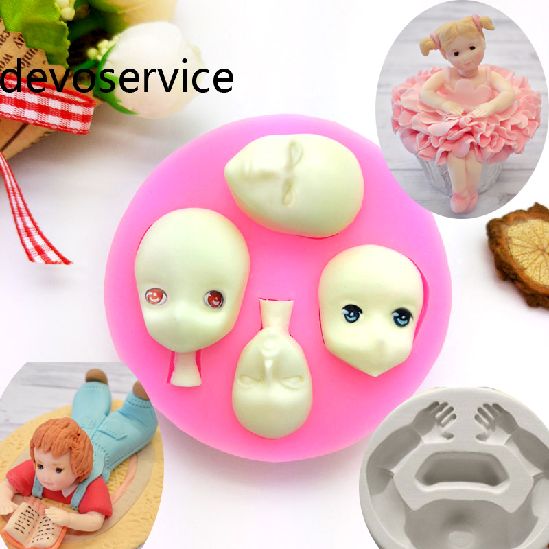 New Head Body Silicone Molds Party Fondant Cake Decorating Tool Sugar Chocolate Candy Moulds DIY Kitchen Bakeware Baking Mold