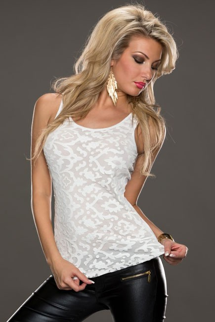 White-Leather-Lace-Surface-Sleeveless-Top-LC25169-1