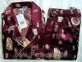 Бесплатная доставка! бордовый мужская Полиэстер Сатин Одеяние Pajama Наборы Пижамы Пижамы РАЗМЕР Sml XL XXL XXXL ZT-4