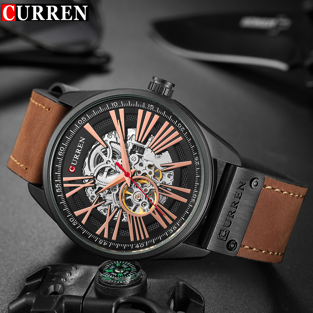CURREN NEW Men Quartz fashion watch brand luxury Automatic Mechanical wristWatch Leather Casual Business Retro clock