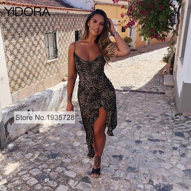 449650b1ba2 2018 Top Quality Viscose   Silk Blend Sexy Leopard Print Asymmetric Strap Midi  Dress Features Burn Out Velvet   Front Side Vents