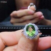 Натуральный и настоящий Перидот кольцо 925 стерлингового серебра ювелирные украшения оптом драгоценный камень 8*10 мм