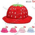 Lovely Infant Strawberry Hat Child Summer Sun Hat Baby Hat Cotton Girls Sunbonnet Cap 10pcs Free Shipping
