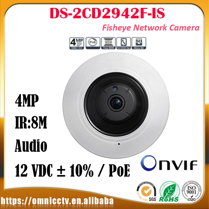 Hikvision CCTV PTZ IP 4MP Camera DS-2CD2942F-IS IR Audio WDR H.264 DNR Built-in Mic Night version Surveillance Fisheye Camera touchstone teacher s edition 4 with audio cd