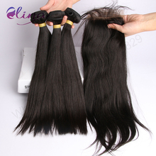 Brazilian Straight Bundles With Closure 4×4 Lace Closure Brazilian Virgin Hair Human Hair 9a Grade DHL/Ups Fast Shipping