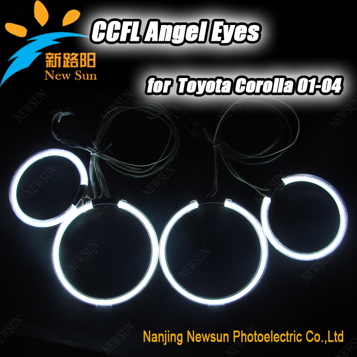 Super bright CCFL Angel eyes car light for TOYOTA COROLLA 01-04 colorful headlight halo rings kit auto lamp with 2 inverters