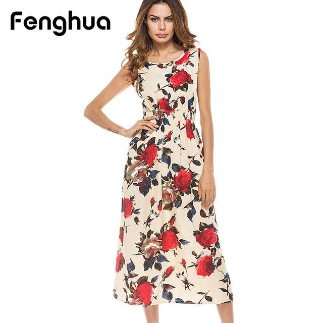 Fenghua Vintage Summer Dress Big Sizes Boho Floral Summer Beach Dress 2017 New Women Long Evening Party Dresses Prom Vestido