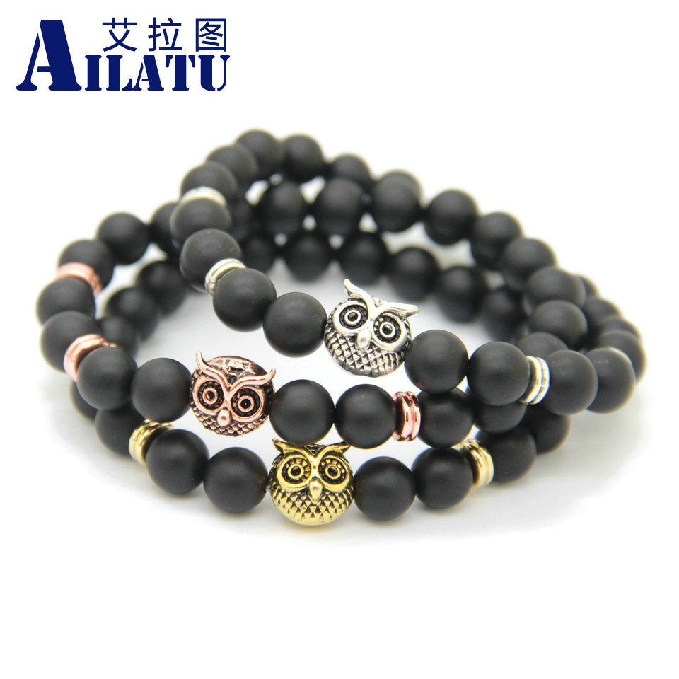 Ailatu Brand Men Jewelry Wholesale 10pcs New Design 8mm Natural Matte Onyx Stone Alloy Owl Bracelet