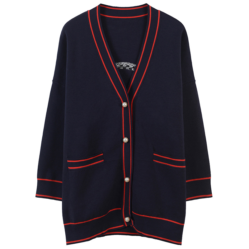 Women Cardigan Pearl Button Pockets Sweater Coat Flag and Heart Embroidery Outwear Plus Size Shrug Runway