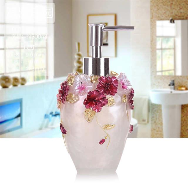 Online Shop Bathroom Soap Dispenser Set Vintage Rose Flower Soap Jar