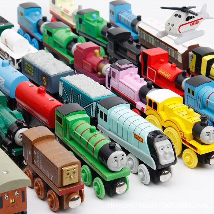 Train magique piste voiture Train en bois roues chaudes Thomas et amis pour enfants enfants cadeau 48 Types choisir voiture jouet
