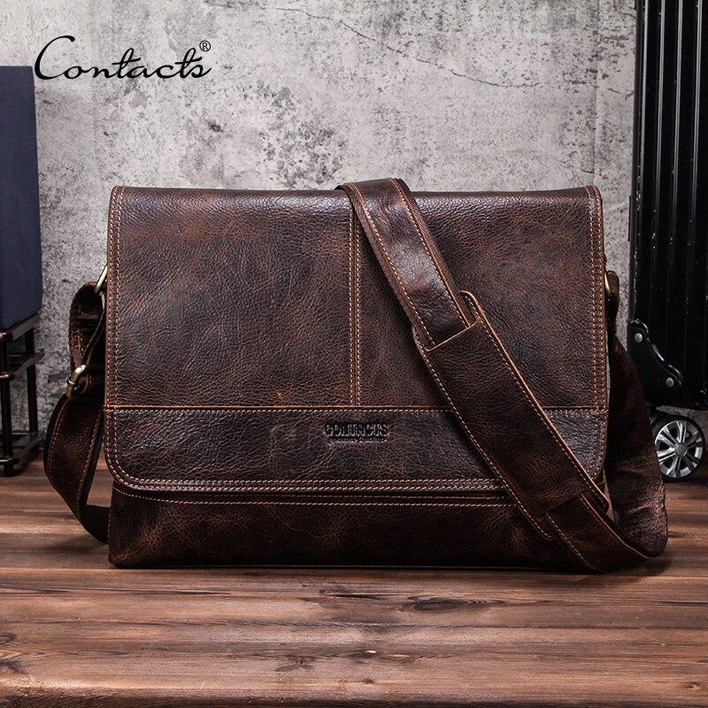 """CONTACT'S Echtem Leder männer Schulter Taschen vintage reise crossbody tasche für 13 """"laptop Business männlichen Messenger taschen Klappe Tasche auf   1"""