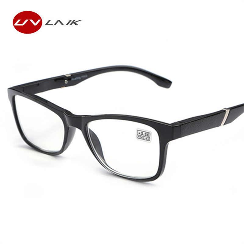 0e73dd1db9 UVLAIK Mens Womens Reading Glasses Readers Fashion Vintage Transparent  Glasses Frame HD Resin Lens Reading Eyeglasses