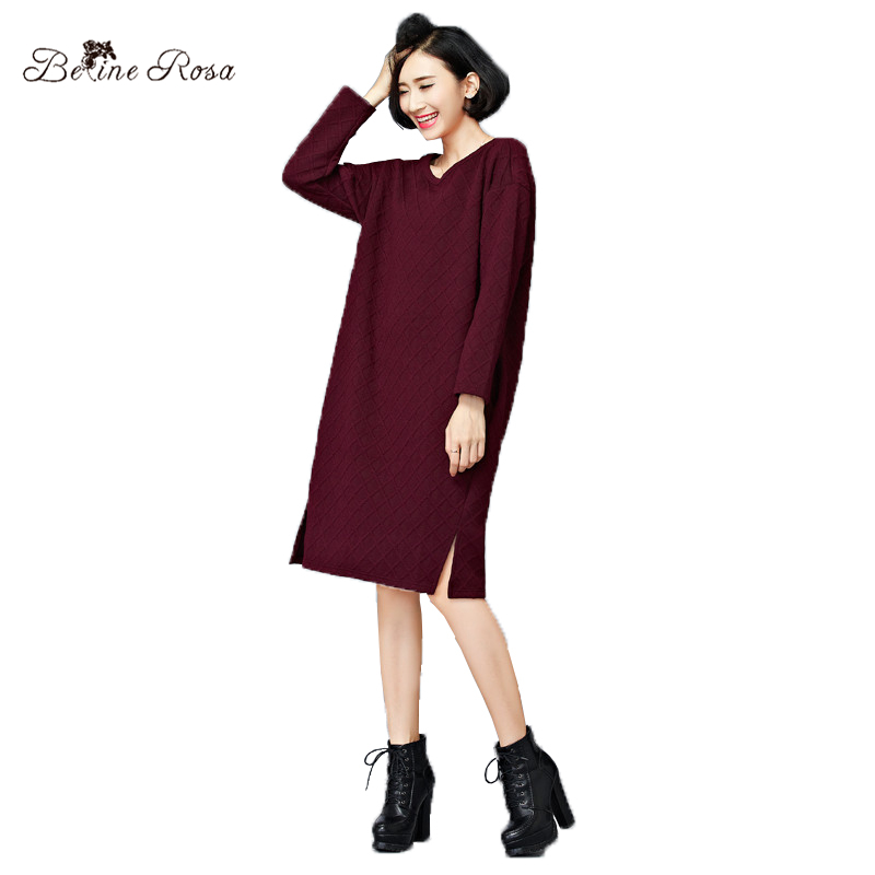 3db98ef4707 BelineRosa 2018 Women s Winter Dresses Vintage Pure Color Cotton Dress in Big  Sizes Casual Large Size