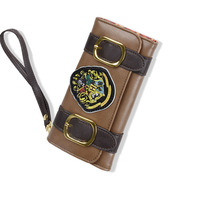 2017 Vintage Movie Harry Potter Gryffindor Long Men Wallets Three Fold Clutch Brown Leather Students Women Purse Money Cards Bag
