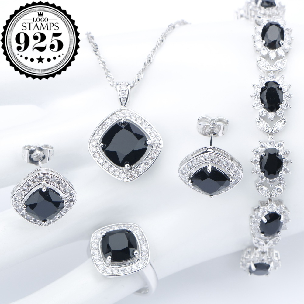 Silver 925 Costume Wedding Black Zircon Jewelry Sets For Women Bracelets Earrings Rings Pendant Necklace Set Jewellery Gift Box(China)