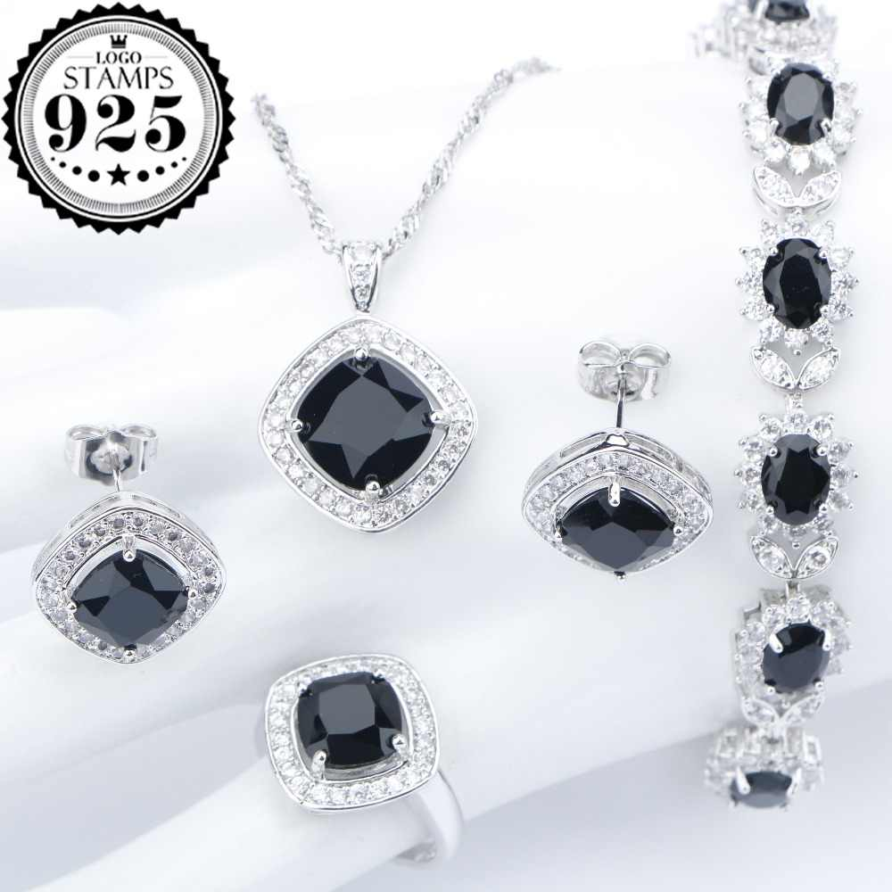 Silver 925 Costume Wedding Black Zircon Jewelry Sets For Women Bracelets Earrings Rings Pendant Necklace Set Jewellery Gift Box