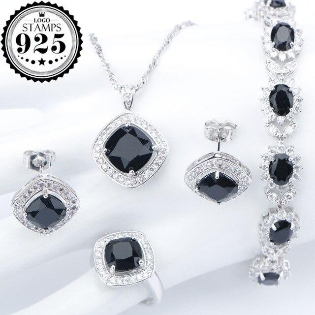 Silber 925 Kostüm Hochzeit Schwarz Zirkon Schmuck Sets Für Frauen Armbänder Ohrringe Ringe Anhänger Halskette Set Schmuck Geschenk-box