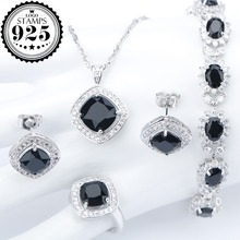 Silver 925 Costume Wedding Black Zircon Jewelry Sets For Women Bracelets Earrings Rings Pe
