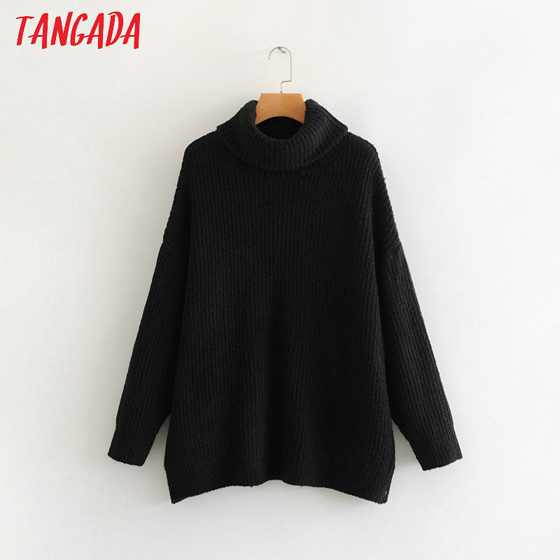 Tangada women jumpers turtleneck sweaters oversize winter fashion 19 long sweater coat batwing sleeve christmas sweate HY135 15