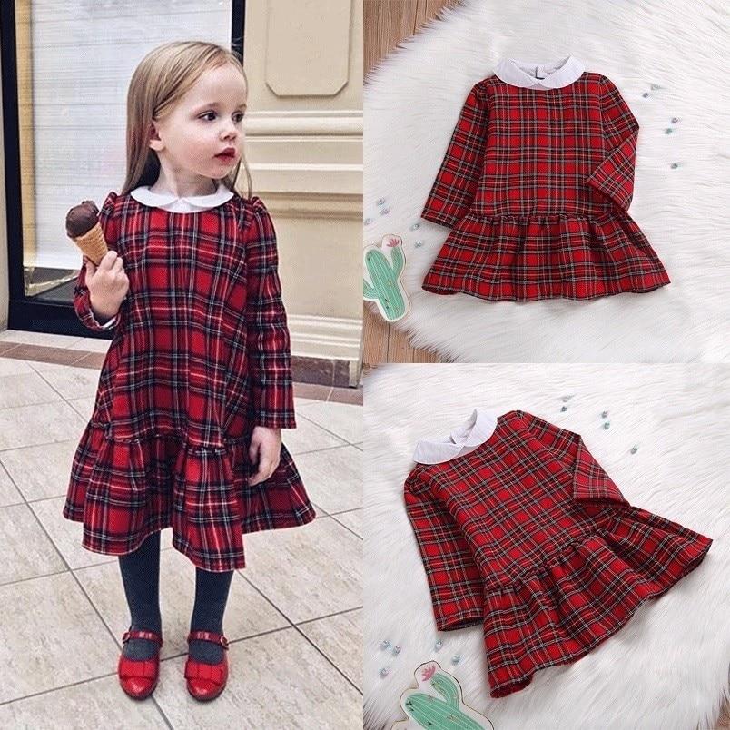 Infant Toddler Red Plaid Kid Baby Girl Long Sleeve Length Princess Dress