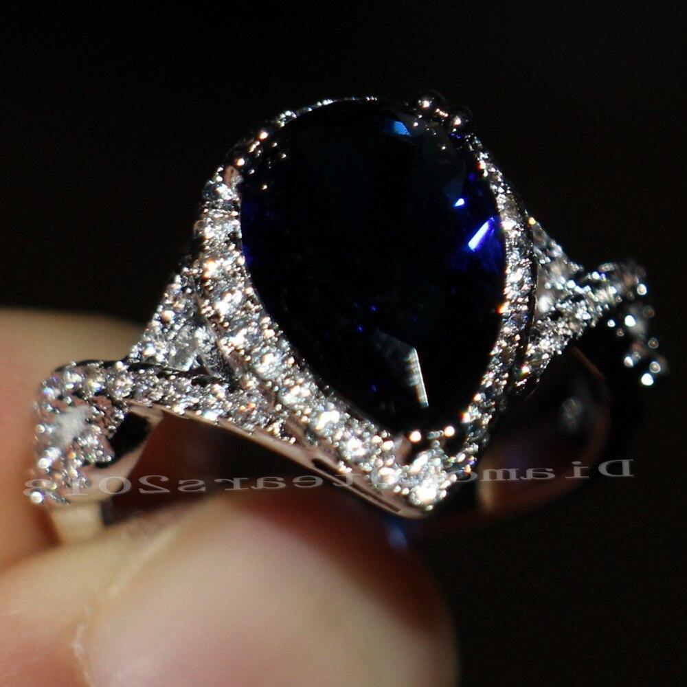 Poire coupe livraison gratuite bijoux Vintage 10kt or blanc rempli AAA CZ pierres de fiançailles de mariage femmes coeur anneaux cadeau taille 5-11