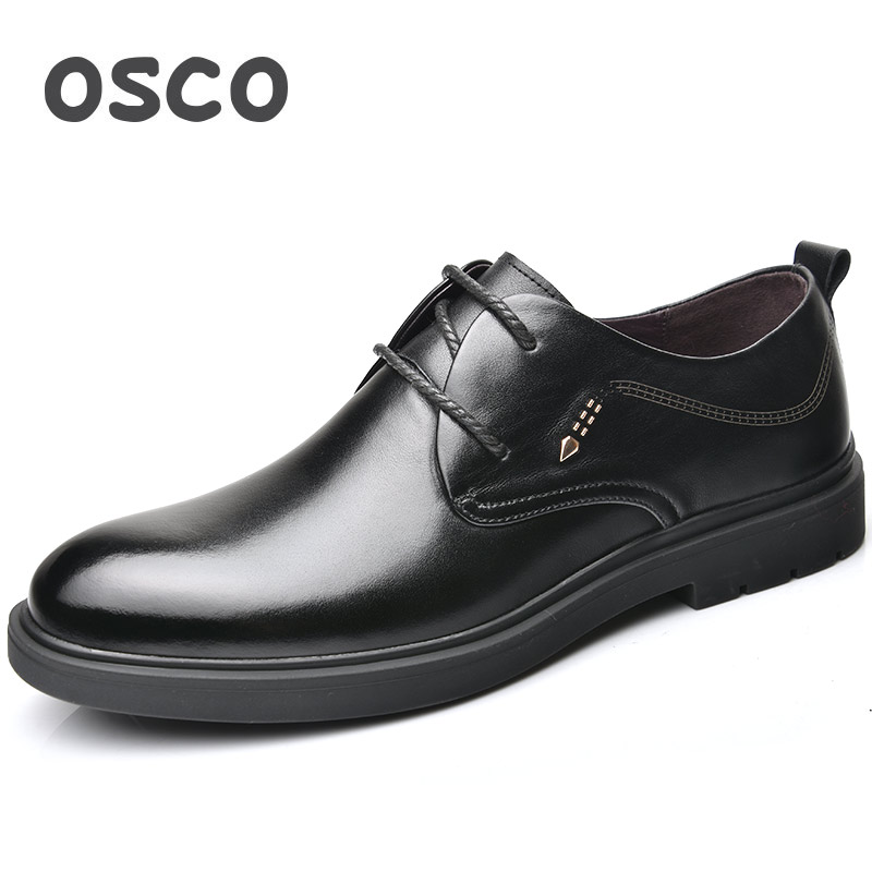 OSCO Office Men Shoes Business Casual Dress Shoes Male Genuine Leather Pointed Lace-up Breathable Shoes Youth Formal Oxfords Men new 2018 fashion men dress shoes black cow leather pointed toe male oxfords business shoes lace up men formal shoes yj b0034 page 1