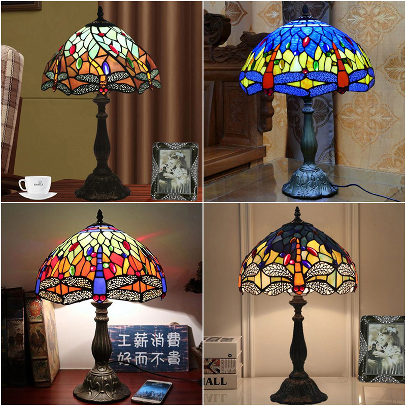 WOERFU 30cm Tiffany Table Lamp E27 Dragonfly Style Bedroom