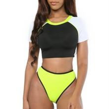 Spring Summer 2019 Sports Short Sleeve Stitching Bikini Push Up Thong Swimsuit Separate May Women Swimwear Female Swimming Suit