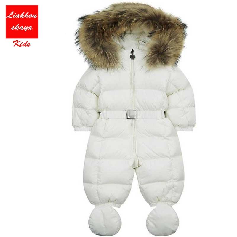 2017 0-36 Month Newborn Baby Winter Jumpsuit Unisex  Baby Infant Romper +Shoes Duck Down Waterproof Boy Girl overalls 8 colors