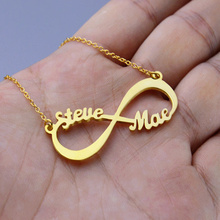 цена 2019 Custom Name Necklace Personalized Stainless Steel Necklace Gold Rose Gold Silver Infinity Pendant Friendship Necklace Jewel