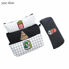 YOUE SHONE 1Pcs/lot Simple French fries Coke canvas pouch fast food personalized stationery bag storage